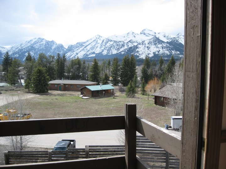 Looking out the back porch of the bunkhouse